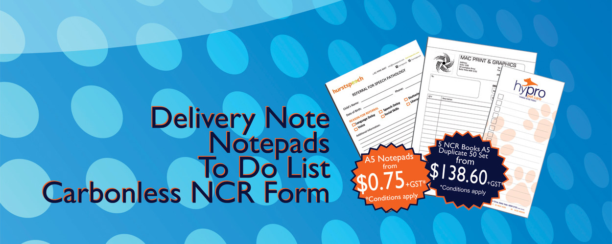 notepad printing, delivery note, to do list, carbonless ncr form